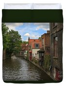 View Of The Canal From Maria Brug On Katelijnestraat In Bruges Duvet Cover