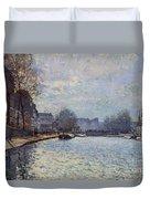 View Of The Canal Saint-martin Paris Duvet Cover