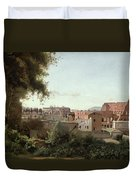 View Of The Colosseum From The Farnese Gardens Duvet Cover by Jean Baptiste Camille Corot