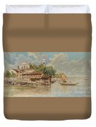 View Of The Gondola Shipyard In San Trovaso Duvet Cover
