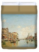 View Of The Grand Canal Of Venice Duvet Cover