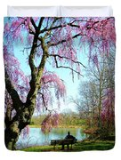 View Of The Lake In Spring Duvet Cover