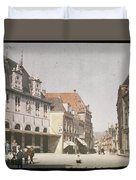 View Of The Market Horn  With The Statue Of Jan Pietersz Coen And The Waag Anonymous  1907   1930 Duvet Cover