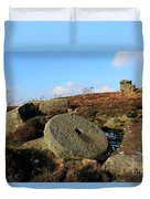 View Of The Mother Cap Gritstone Rock Formation, Millstone Edge Duvet Cover