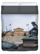 View Of The Museum Of Art In Philadelphia From The Parkway Duvet Cover