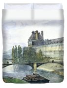 View Of The Pavillon De Flore Of The Louvre Duvet Cover by Francois-Marius Granet