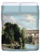 View Of The Pont Du Gard Duvet Cover