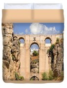 View Of The Tajo De Ronda And The Puente Nuevo Bridge From Across The Valley Duvet Cover