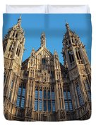 View Of The Top Detail Of The Parlament House In London Duvet Cover