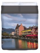View Of Thiou River In Annecy Duvet Cover
