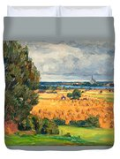 View Of Vadstena From The Surrounding Fields Duvet Cover