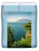 View Of Volcano San Pedro With A Crown Of Clouds In Guatemala Duvet Cover