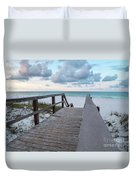 View Of White Sand And Blue Ocean From Wooden Boardwalk Duvet Cover