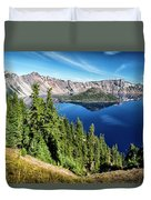 View Of Wizard Island Crater Lake Duvet Cover