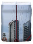 View Oftajmahal Hotel Atalantic City America From The Play Ground Family Entertainment Centre Beach Duvet Cover