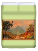 View On Blue Tip Mountain H A With Decorative Ornate Printed Frame. Duvet Cover