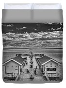 View Over The Pier Mono Duvet Cover