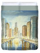 View Up The Chicago River Duvet Cover