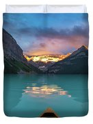 Viewing Snowy Mountain In Rising Sun From A Canoe Duvet Cover