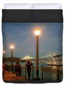 Viewing The Bay Bridge Lights Duvet Cover
