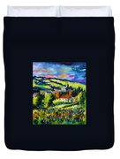 Village And Blue Poppies  Duvet Cover