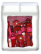 Village In Pink Duvet Cover