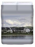 Village Of Spay Germany And Marksburg Castle Duvet Cover