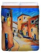 Village Street In Tuscany Duvet Cover