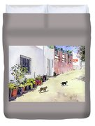 Village Street With Cats In Hortichuelas Duvet Cover
