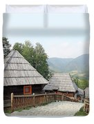 Village With Wooden Cabin Log On Mountain Duvet Cover
