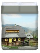 Village With Wooden Houses On Mountain Duvet Cover