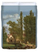 Villagers And Animals In A Landscape Beside A Bridge At The Entrance Of A Village Duvet Cover
