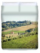 Vineyards With Stone House, Tuscany, Italy Duvet Cover