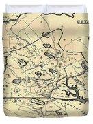 Vintage 1692 Map Of Salem Massachusetts - 1866 Duvet Cover