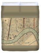 Vintage 1840s Map Of New Orleans Duvet Cover