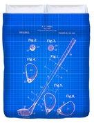 Vintage 1910 Golf Club Patent Blue Print Duvet Cover