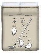 Vintage 1910 Golf Club Patent In Sepia Duvet Cover