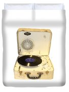 Vintage 1950s Record Player And Vinyl Record Duvet Cover