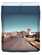 Vintage 1950s View Of Congress Avenue Looking North From South Congress To The Capitol Duvet Cover