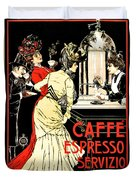 Vintage Antique Italian Coffeehouse Advertising Duvet Cover