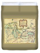 Vintage Antique Map Of The Great Lakes Duvet Cover
