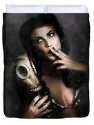 Vintage Army Pinup Girl Holding Gas Mask Duvet Cover