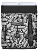 Vintage Barrel Taps And Cork Screw Black And White Duvet Cover