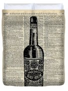 Vintage Bottle Of Rum Over Antique Book Page Duvet Cover