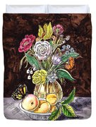 Vintage Bouquet With Fruits And Butterfly  Duvet Cover
