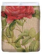 Vintage Burlap Floral Duvet Cover
