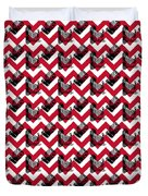 Vintage Camera Chevron Duvet Cover