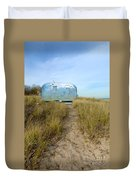 Vintage Camping Trailer Near The Sea Duvet Cover