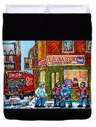 Vintage Candy Store Classic Coca Cola Truck Winter Scene Hockey Art Canadian Art Carole Spandau      Duvet Cover