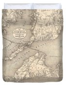 Vintage Cape Cod Old Colony Line Map  Duvet Cover